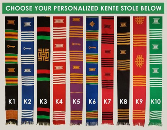 Personalized Kente Stole With African Or Caribbean Flags